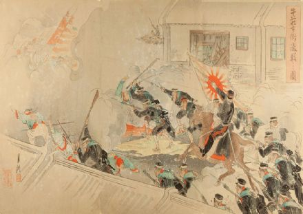 Gekko, Ogata: Severe Battle on the Streets of Gyuso. Japanese Fine Art Print.